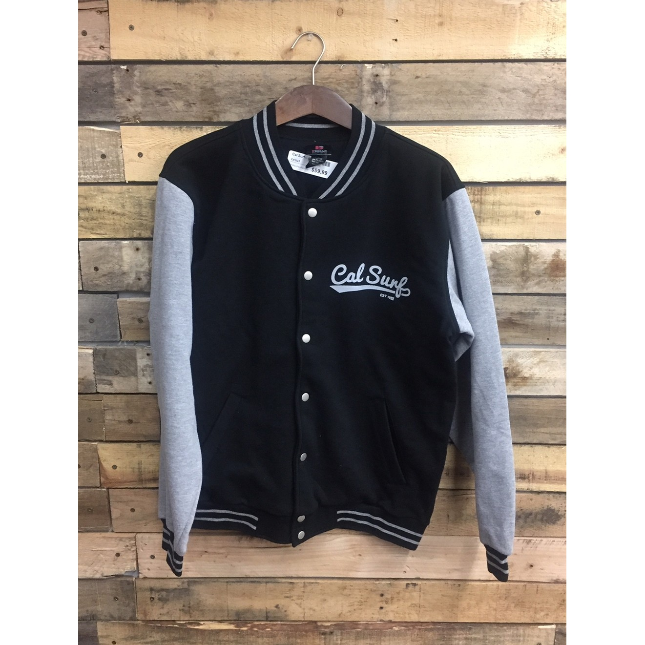 Varsity Fleece Jacket - Black/Heather Grey