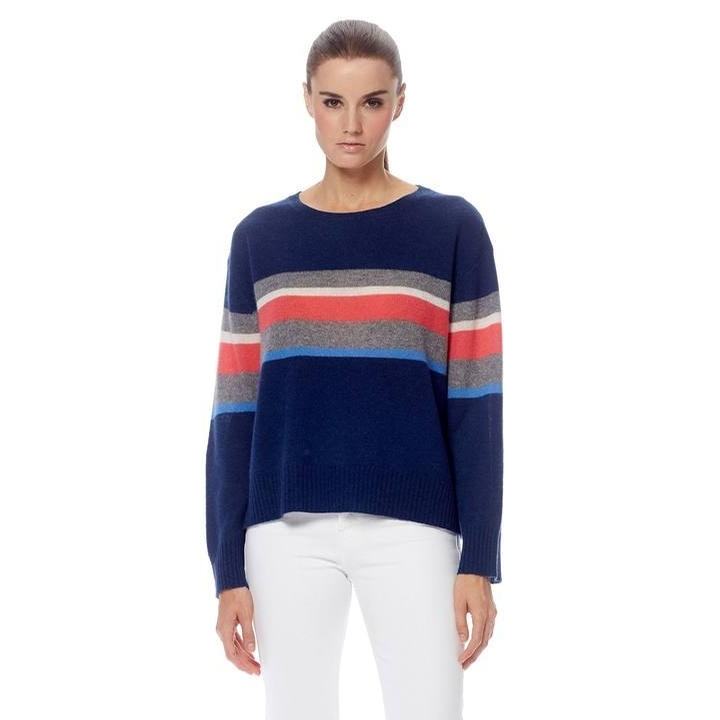 Ladies Cashmere Christina Sweater (Navy/Multi)