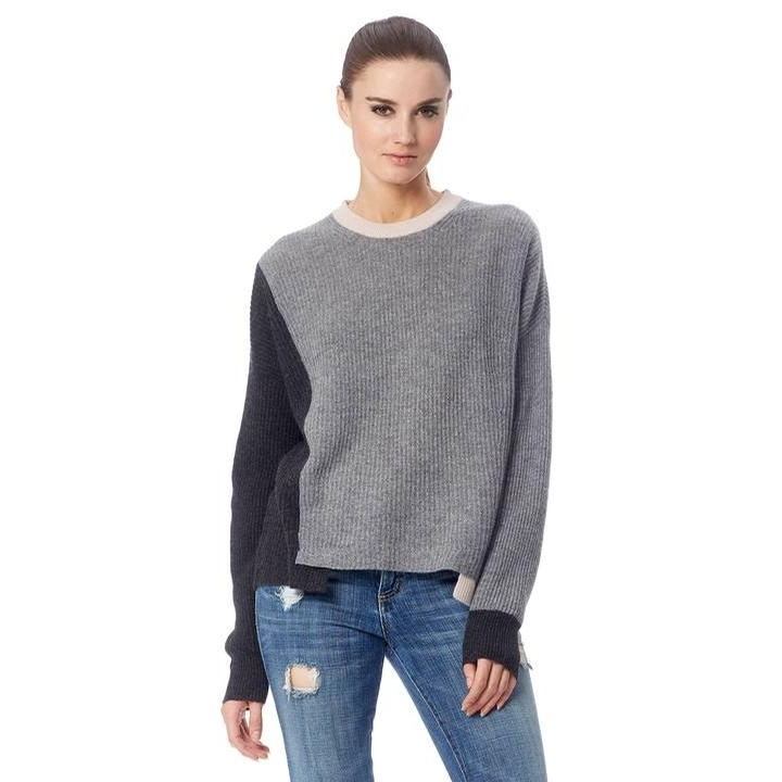 Ladies Cashmere Akima Sweater (Graphite/Mid Heather Grey/Buff)