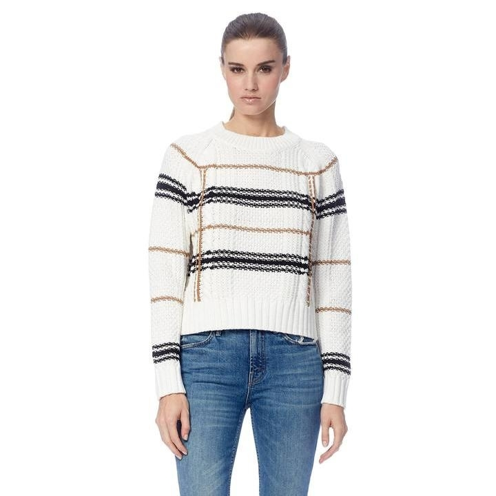 Ladies Ella Sweater (White/Camel/Black)