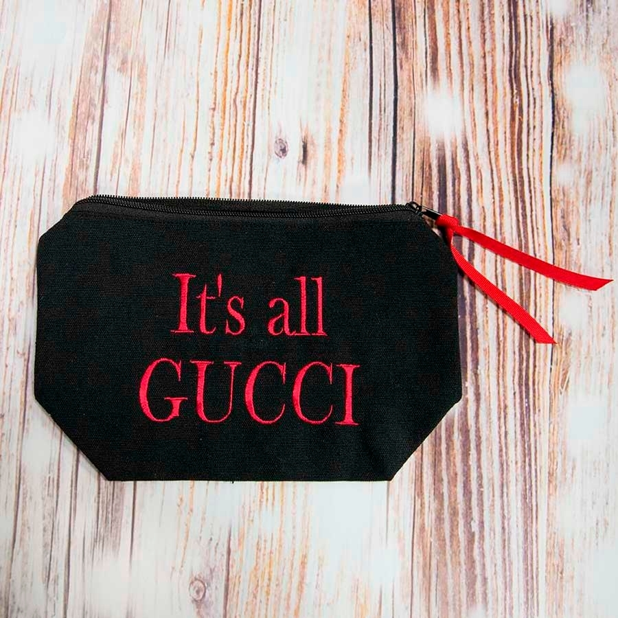 Its All Gucci Cosmetic Case (Black/Red)