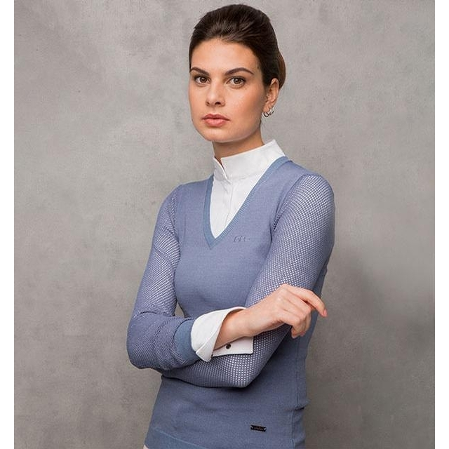 Ladies Sweater with Perforated Sleeves (Aviation Blue)