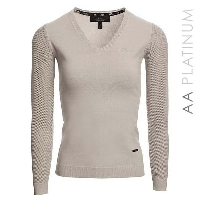 Ladies Sweater with Perforated Sleeves (Pearl Grey)