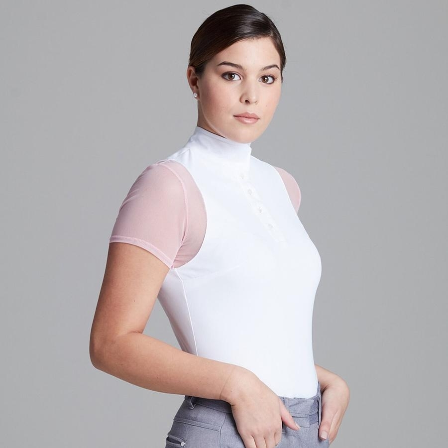 Ladies Paulo Alto Short Sleeve Show Shirt (White/Petal Pink)
