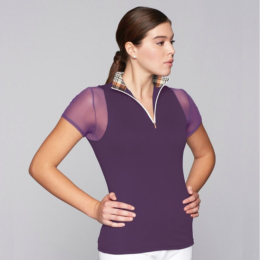 Ladies Paulo Alto Zip Short Sleeve Show Shirt (Plum)