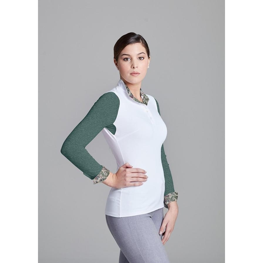 Ladies Paulo Alto Long Sleeve Show Shirt (White/Emerald)