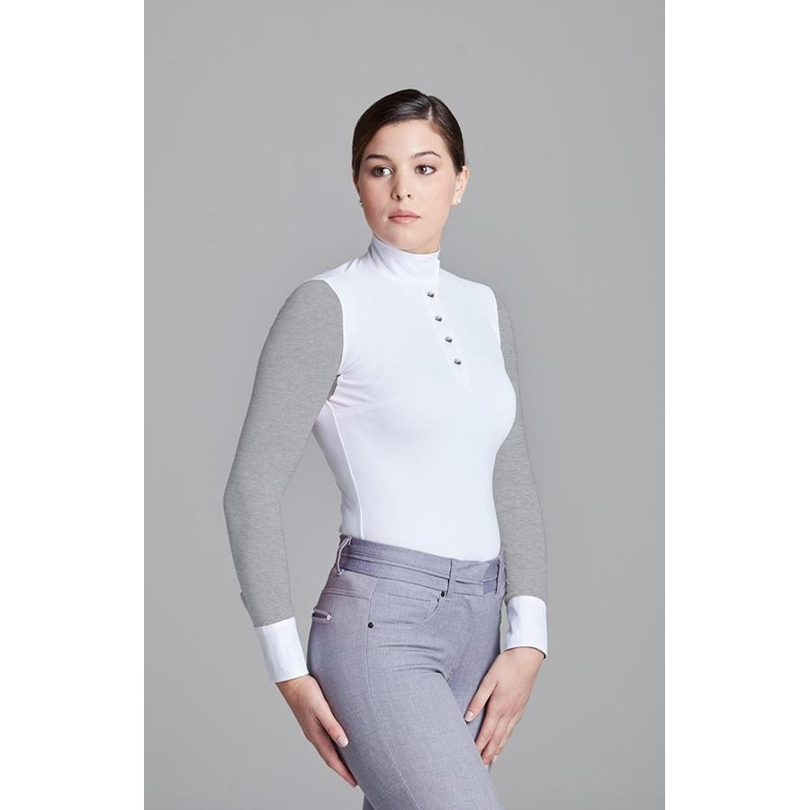 Ladies Paulo Alto Long Sleeve Show Shirt (White/Heather)