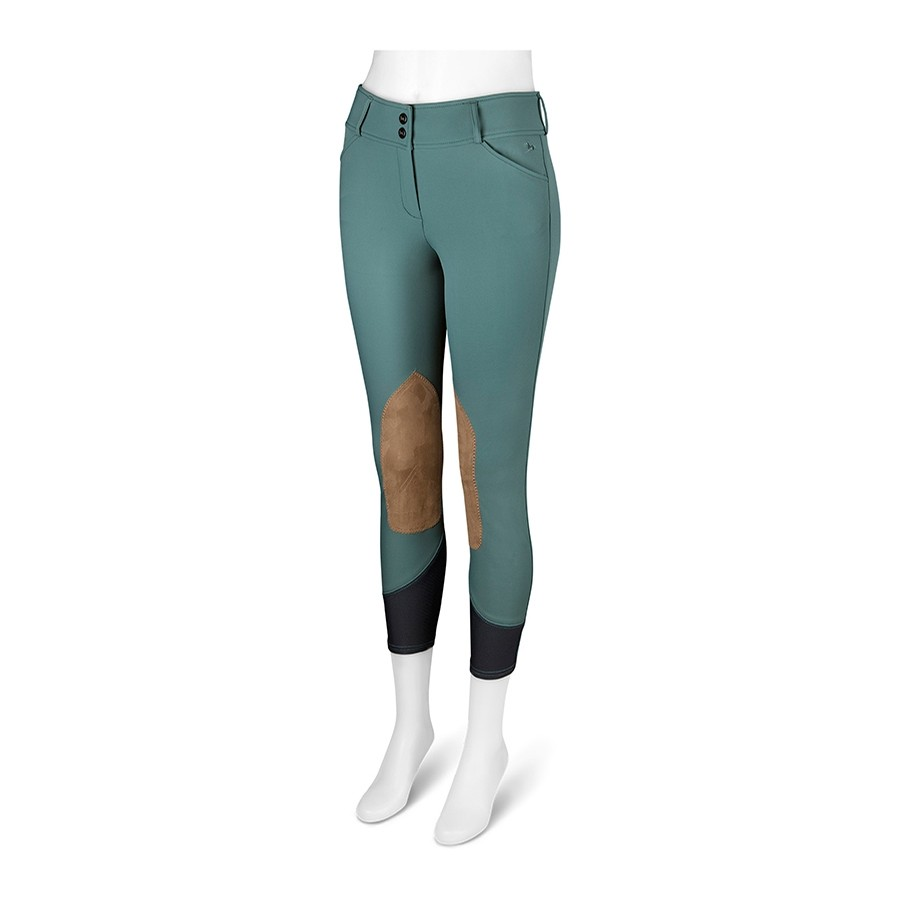 Ladies Gulf Low Rise Knee Patch Breech (Mallard Green With Tan Patch)