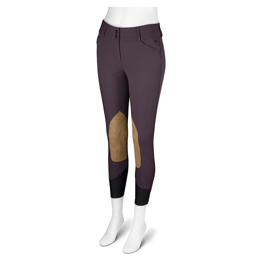 Ladies Gulf Low Rise Knee Patch Breech (Rum Raisin with Tan Patch)