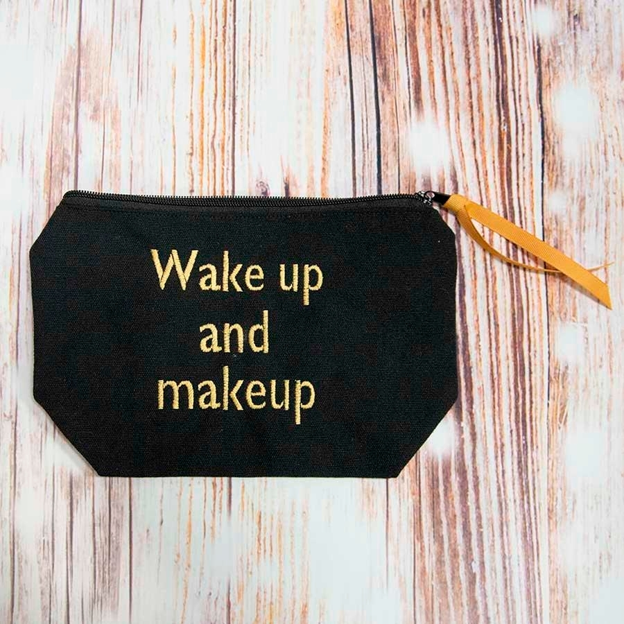 Wake Up and Makeup Cosmetic Case (Black/Gold)