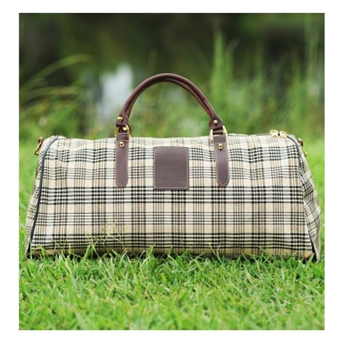 Duffle Bag With Brown Leather Trim with Shoulder Strap