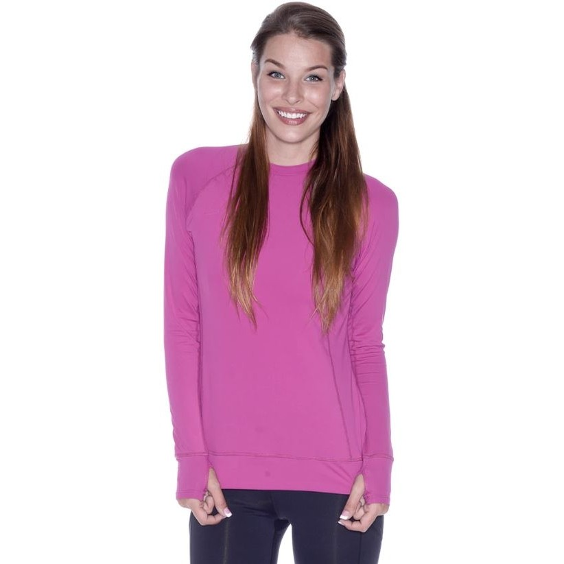 Ladies Pullover Long Sleeve Shirt (Orchid)