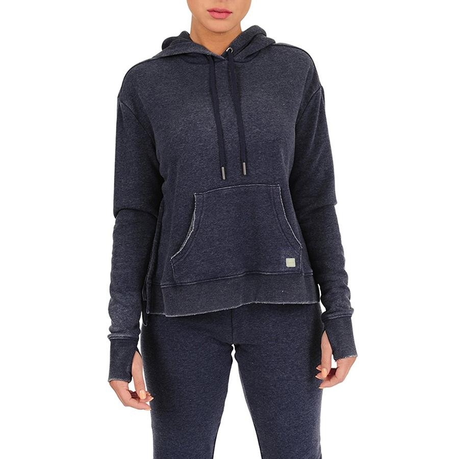 Ladies Pull Over Hoodie with High Side Slits