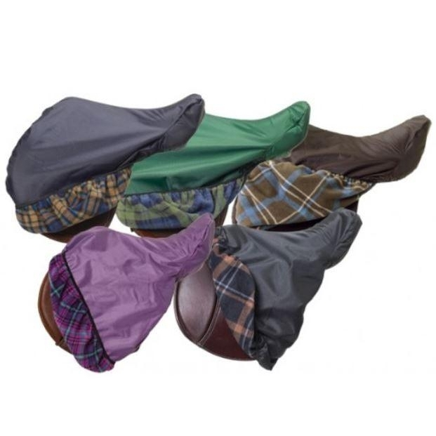 Waterproof Breathable Saddle Cover (Navy/Tan Plaid)