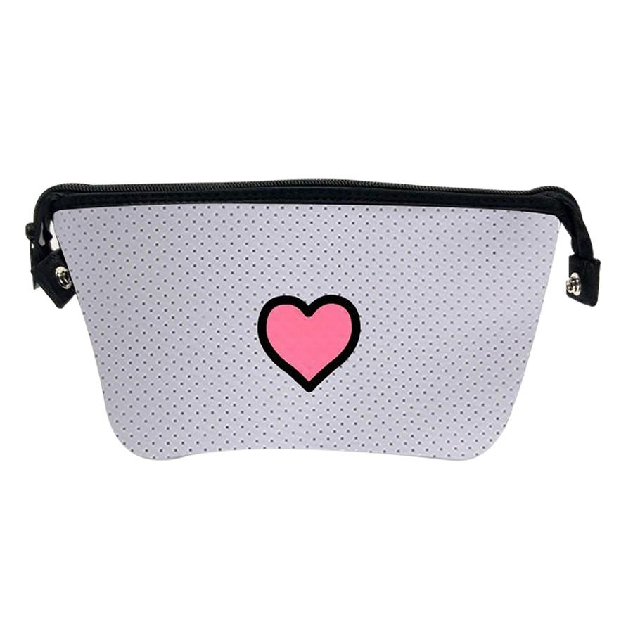 Erin Cosmetic Case (White Coated/Pink Heart)
