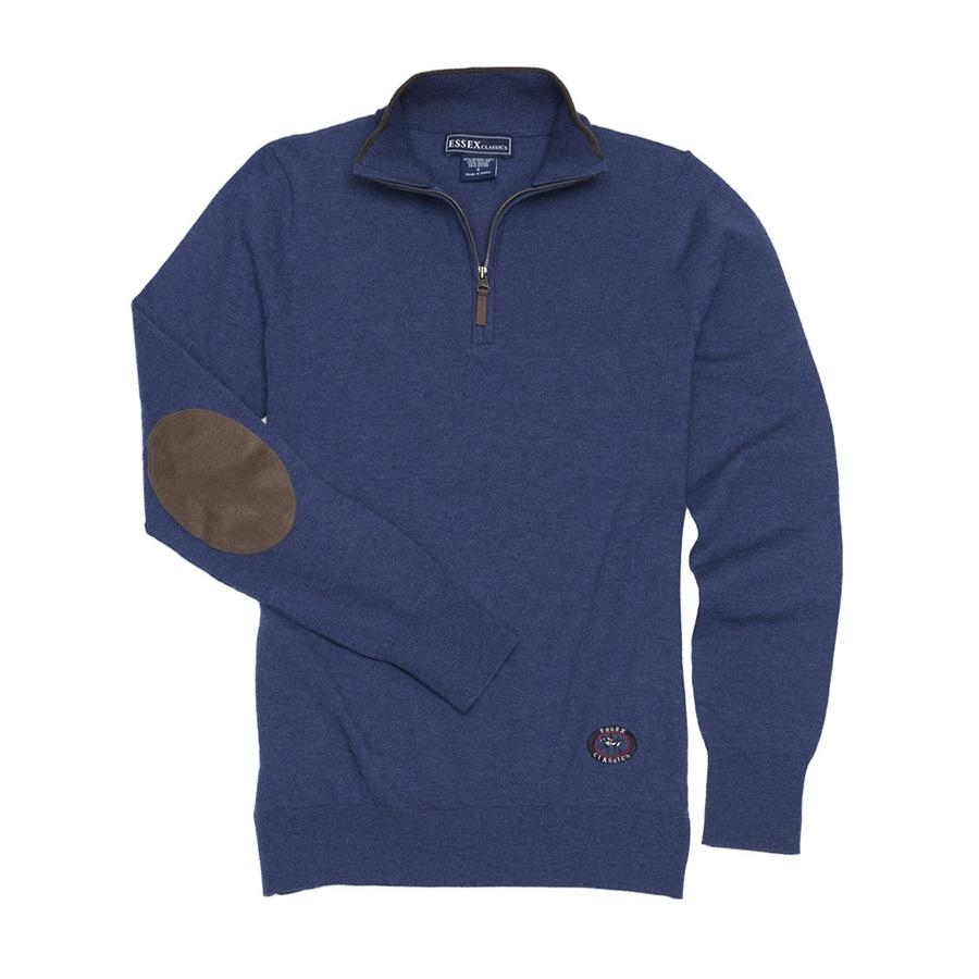 Ladies Quarter Zip Sweater (Dark Navy/Brown)