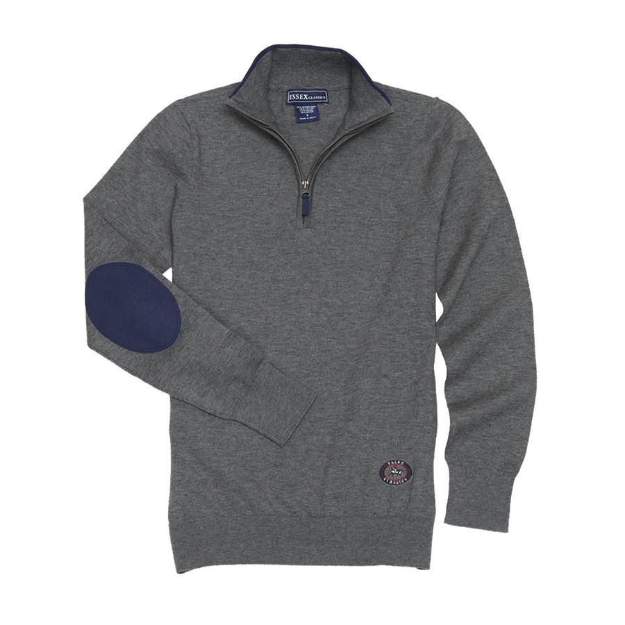 Ladies Quarter Zip Sweater (Grey/Navy)