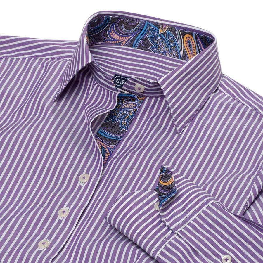 Dora Casual Striped Shirt (Purple)
