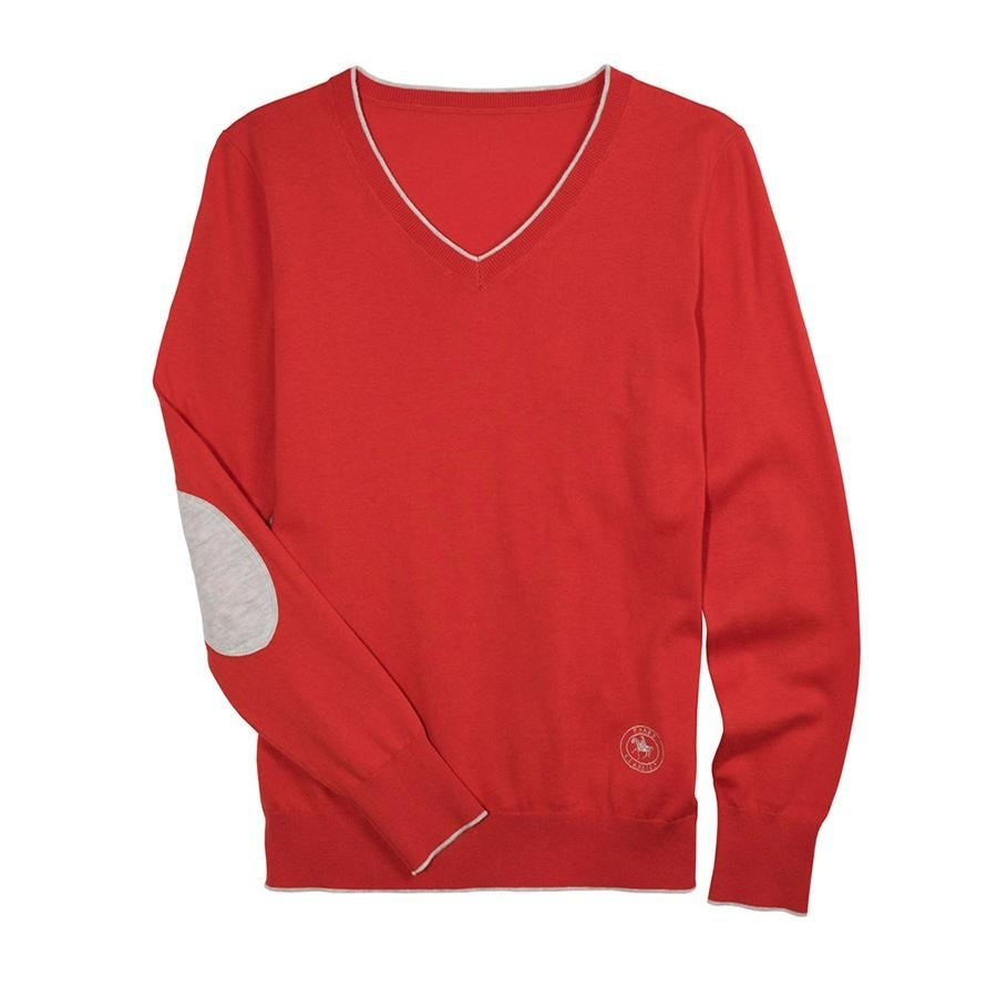 Ladies Trey V-Neck Sweater (Coral/ Grey)