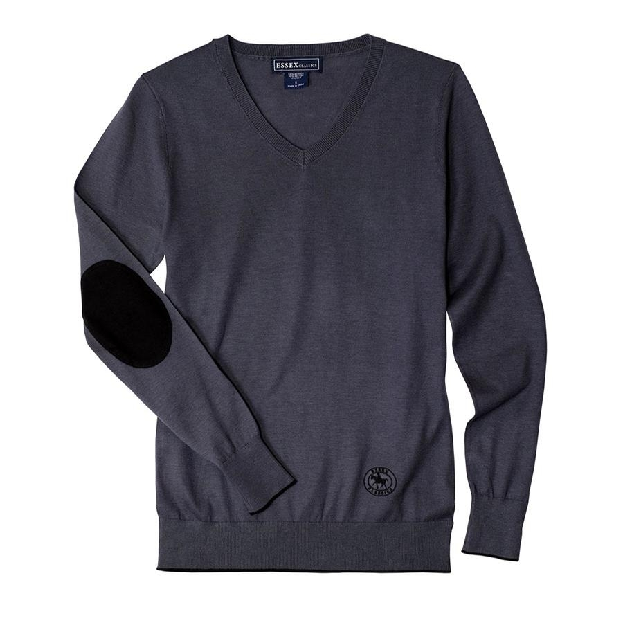 Ladies Trey V-Neck Sweater (Dark Grey/Black)
