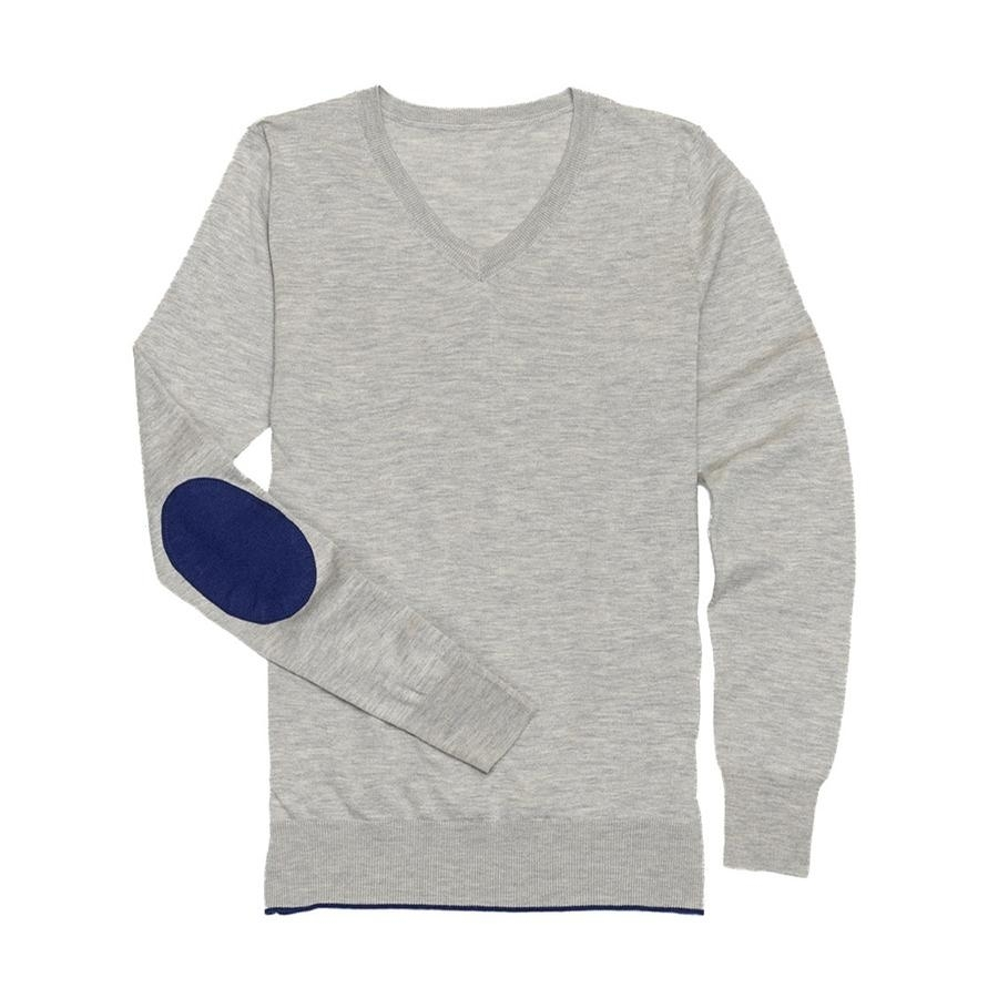 Ladies Trey V-Neck Sweater (Grey/Navy)