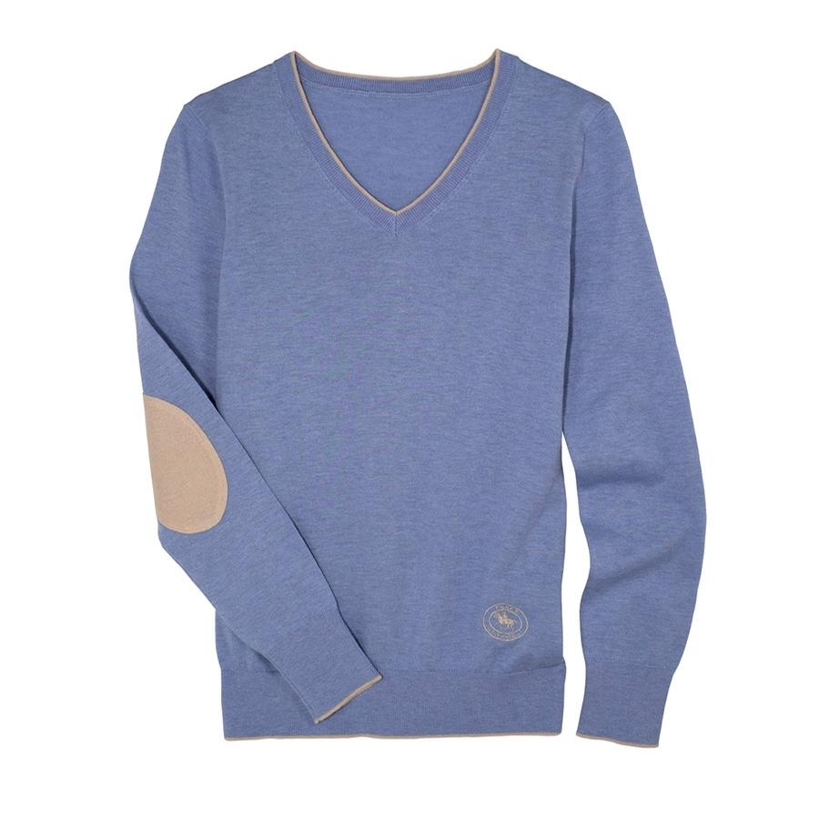 Ladies Trey V-Neck Sweater (Light Blue/Beige)