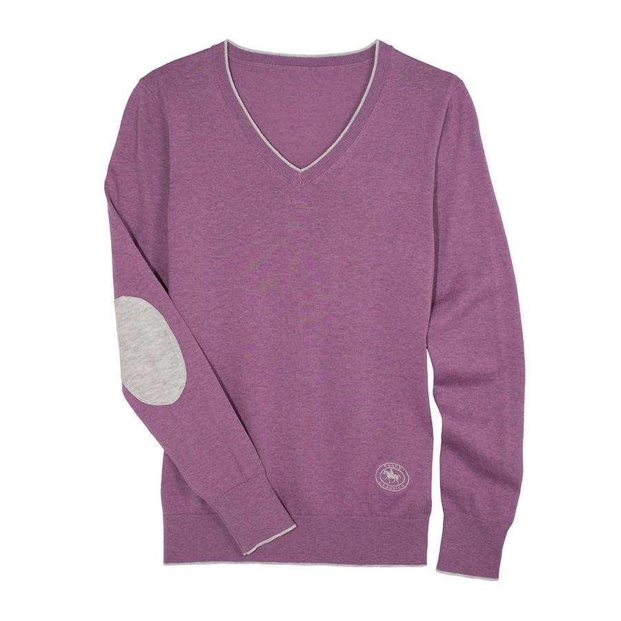 Ladies Trey V-Neck Sweater (Lilac/Light Gray)