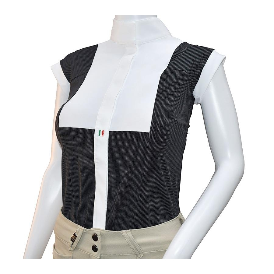 For Horses Ladies Aria Short Sleeve Show Shirt (Black Pois)