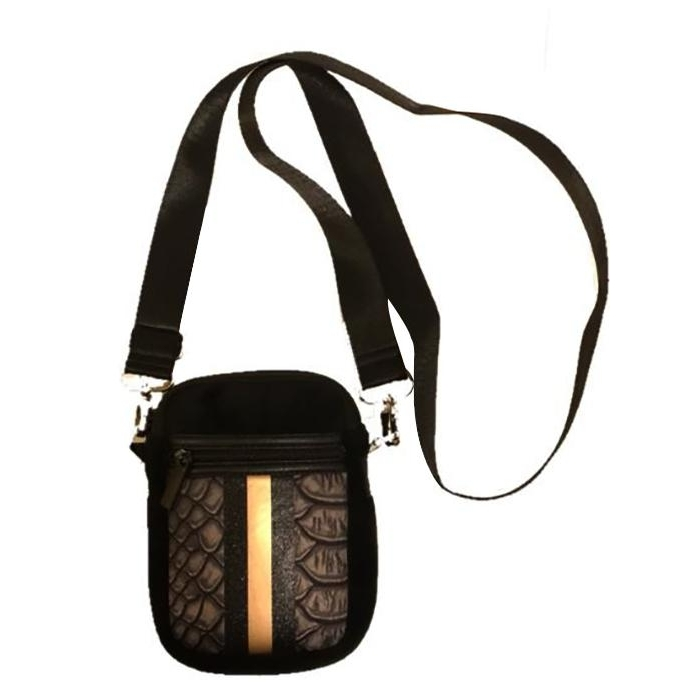 Casey Cell Phone Crossbody (Black Croc/Black Velvet/Rosegold Stripe)