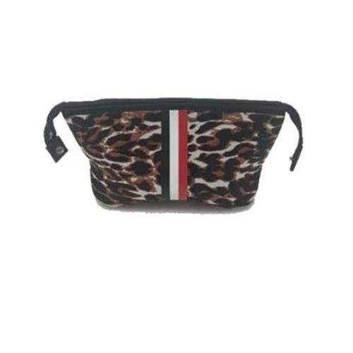 Erin Cosmetic Case (Leopard/Black Red White Stripe)