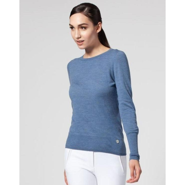 Ladies Leia Crew Neck Merino Sweater (Denim)