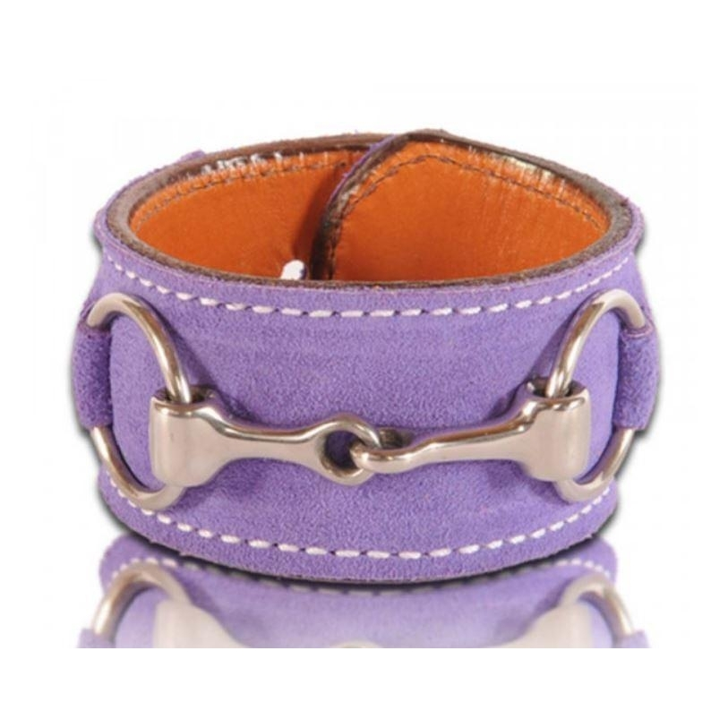 Suede Stainless Steel Bit Cuff Bracelet (Purple)