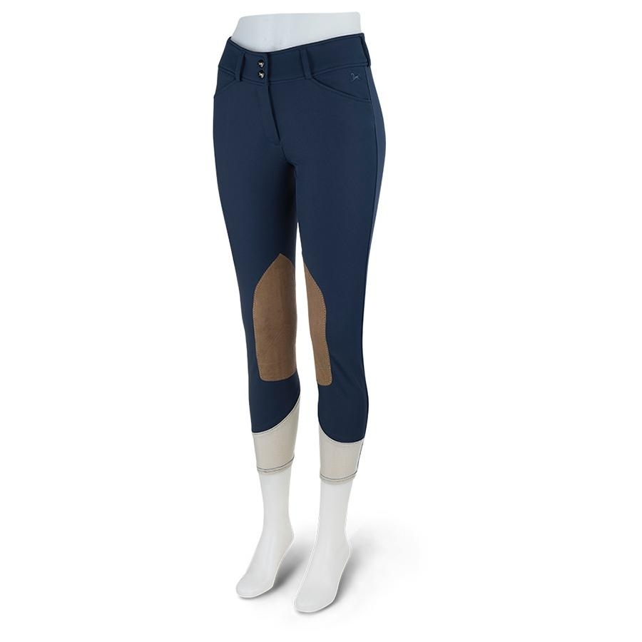 Ladies Anna Mid Rise Knee Patch Breech (Navy with Tan Patch)