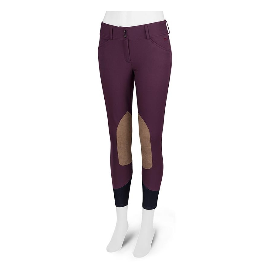 Ladies Gulf Low Rise Knee Patch Breech (Cabernet with Tan Patch)