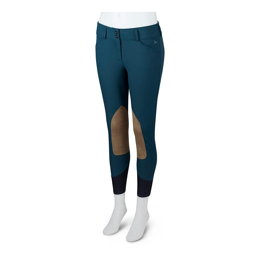 Ladies Gulf Low Rise Knee Patch Breech (Marine with Tan Patch)