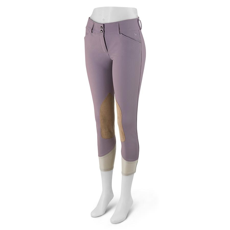 Ladies Gulf Low Rise Knee Patch Breech (Purple Sage with Tan Patch)