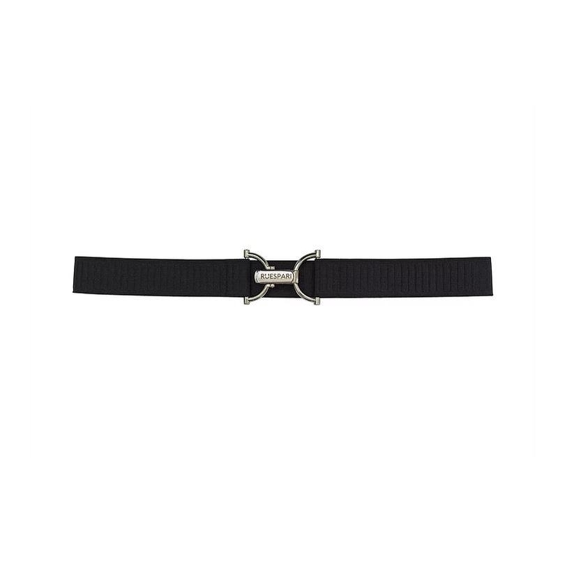 Mens Sport Box Print Engraved Clasp Belt (Black/Silver)