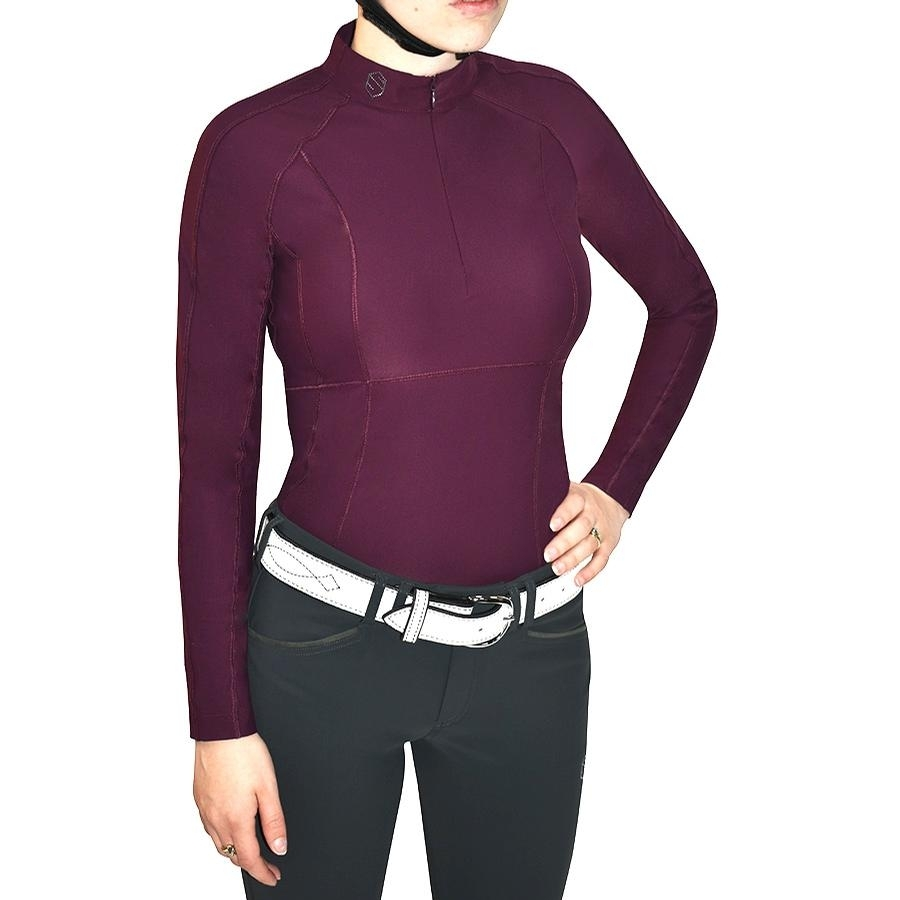 Ladies Ava Long Sleeve Polo (Plum)
