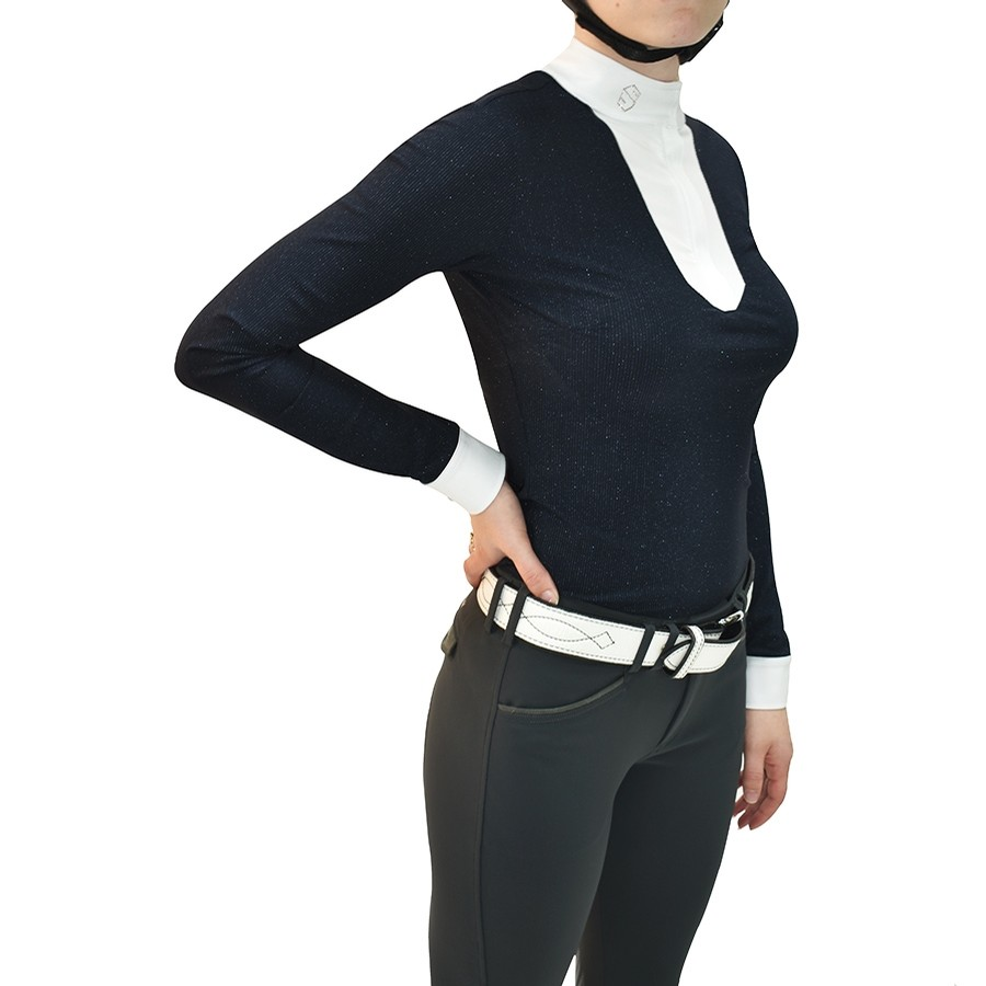 Ladies Faustine Long Sleeve Show Shirt (Navy)