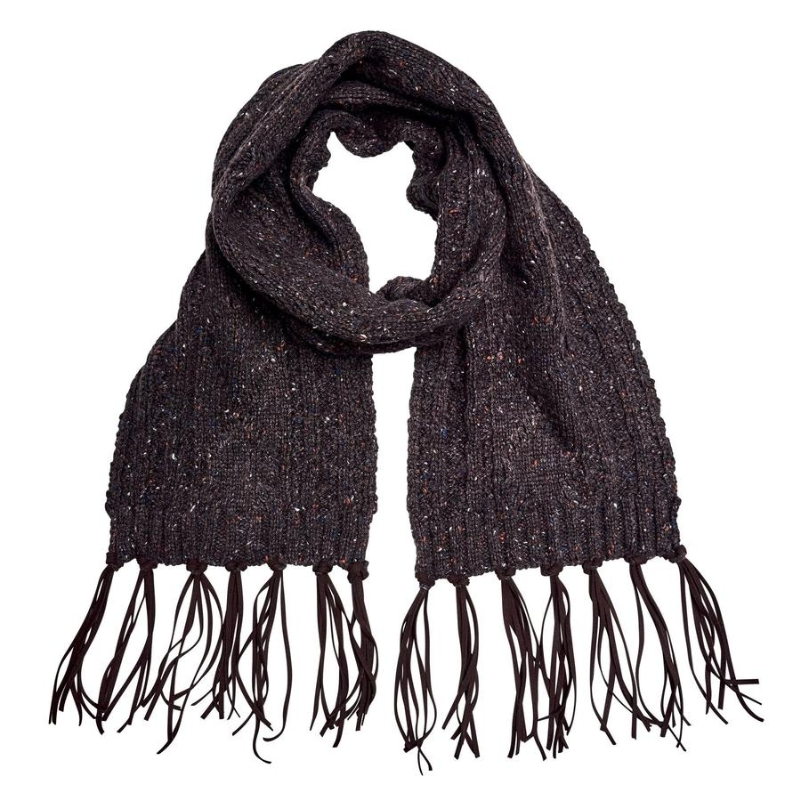 Ladies Cable Knit Scarf with Faux Suede Fringe (Brown)