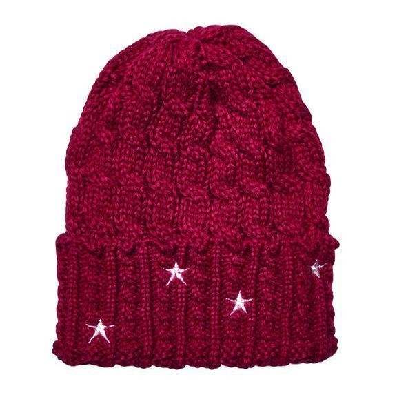 Ladies Cable Knit Beanie with Stars (Red/White)