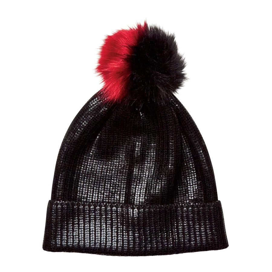 Ladies Cuff Beanie with Faux Fur Pom (Black/Red)