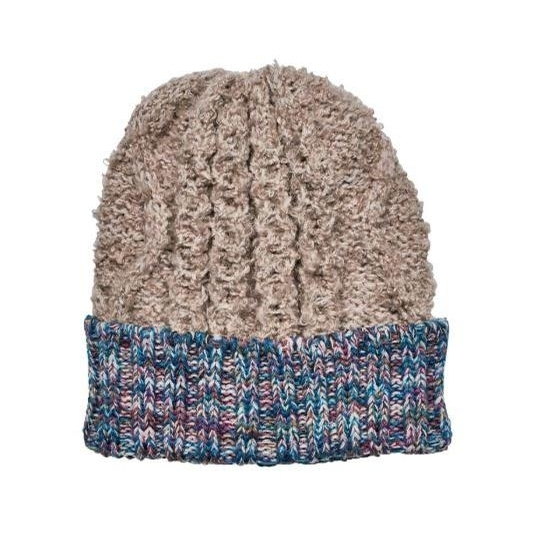 Ladies Knit Beanie with Contrast Cuff (Tan/Multi)