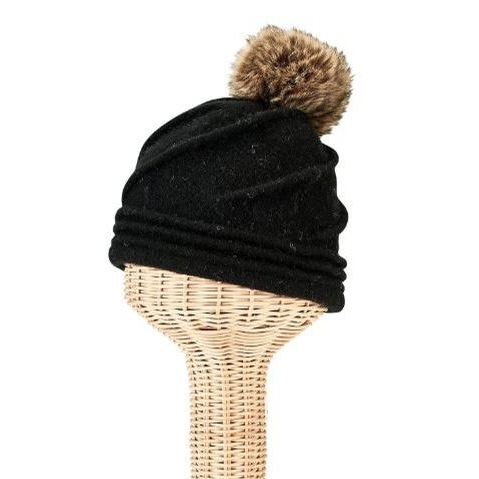 Ladies Molded Beanie with Faux Fur Pom (Black/Brown)
