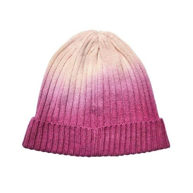 Ladies Ombre Dye Beanie with Cuff (Ivory/Pink)