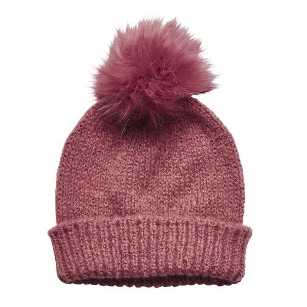 Ladies Soild Knit with Faux Fur Pom (Dusty Rose)