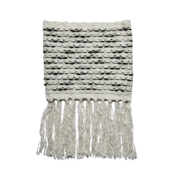 Ladies Stripe Infinity Scarf with Fringe (Ivory)