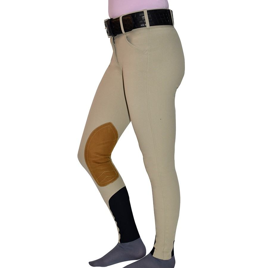 Ladies Boot Sock Low Rise Front Zip Breech (Tan)