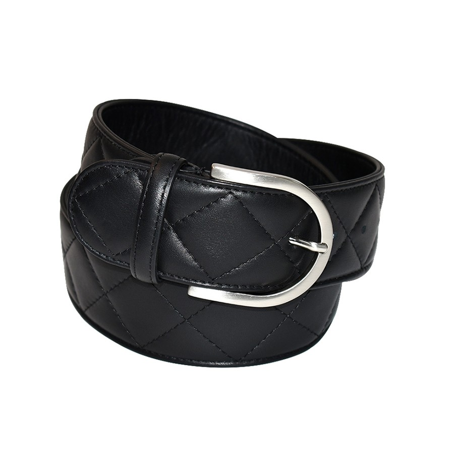 Tailored Sportsman Quilted C Leather Belt (Black)