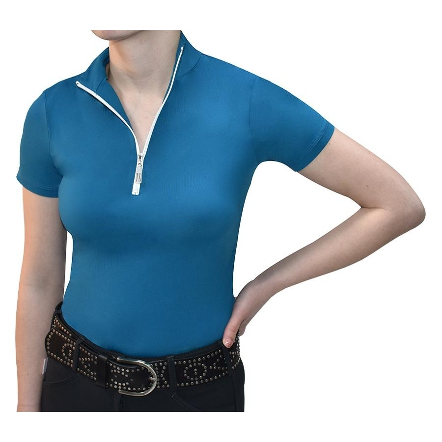 Ladies Icefil Short Sleeve Sunshirt (Peacock/White)
